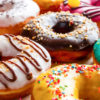 donuts in multicolored glaze close-up